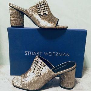 Stuart Weitzman Theone Pleated Lurex Heels 7